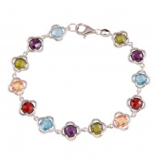 Wholesale Sterling Silver 925 Rhodium Plated Multi-Color Flower Bracelet - BGB00308