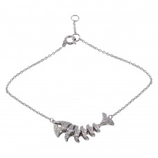Wholesale Sterling Silver 925 Rhodium Plated Flexible Fish Charm Bracelet with CZ - BGB00309