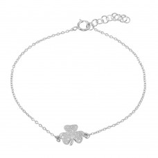 Wholesale Sterling Silver 925 Rhodium Plated Clover Bracelet with CZ - BGB00311CLR