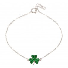 Wholesale Sterling Silver 925 Rhodium Plated Clover Bracelet with Green CZ - BGB00311GRN