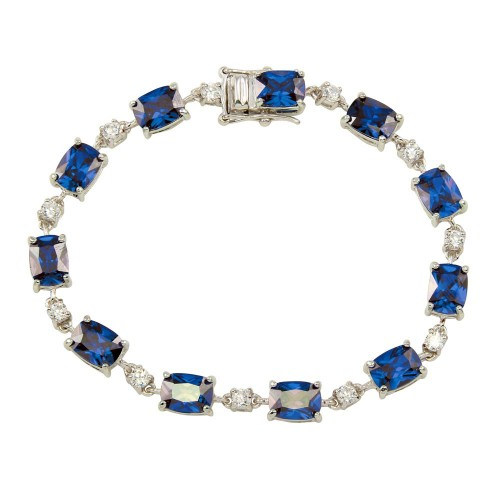 Wholesale Sterling Silver 925 Rhodium Plated Clear and Blue CZ Tennis Bracelet - BGB00312BLU