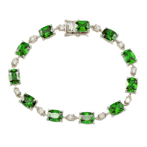 Wholesale Sterling Silver 925 Rhodium Plated Clear and Green CZ Tennis Bracelet - BGB00312GRN