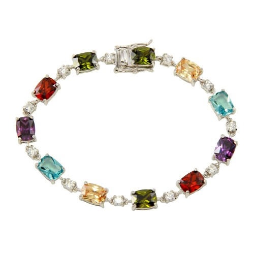 Wholesale Sterling Silver 925 Rhodium Plated Clear and Multi-Colored CZ Tennis Bracelet - BGB00312MUL