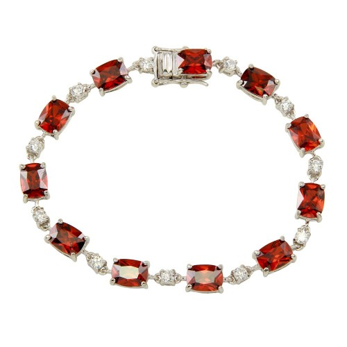 Wholesale Sterling Silver 925 Rhodium Plated Clear and Red CZ Tennis Bracelet - BGB00312RED