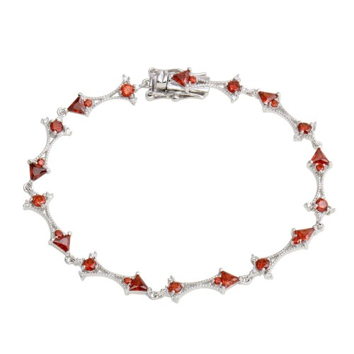 Wholesale Sterling Silver 925 Rhodium Plated Red CZ Tennis Link Bracelet - BGB00314RED