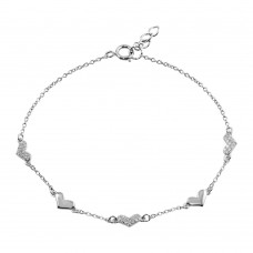Wholesale Sterling Silver 925 Rhodium Plated CZ Hearts Chain Bracelet - BGB00317