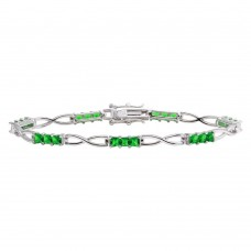 Wholesale Sterling Silver 925 Rhodium Plated Infinity Link Green CZ Tennis Bracelet - BGB00318GRN