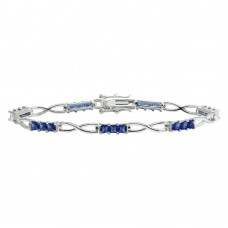 Wholesale Sterling Silver 925 Rhodium Plated Infinity Link Blue CZ Tennis Bracelet - BGB00318BLU