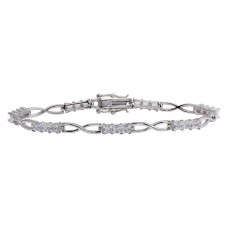 Wholesale Sterling Silver 925 Rhodium Plated Infinity Link CZ Tennis Bracelet - BGB00318CLR