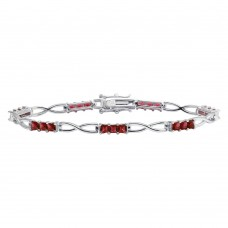 Wholesale Sterling Silver 925 Rhodium Plated Infinity Link Red CZ Tennis Bracelet - BGB00318RED