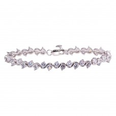 Wholesale Sterling Silver 925 Rhodium Plated Round CZ Tennis Bracelet - BGB00316CLR