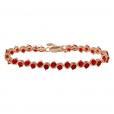 Wholesale Sterling Silver 925 Rose Gold Plated Red CZ Tennis Bracelet - BGB00316RED