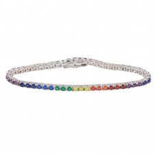 Wholesale Sterling Silver 925 Rhodium Plated Rainbow CZ Tennis Bracelet - BGB00320