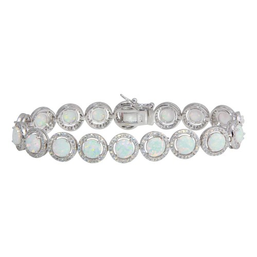 Wholesale Sterling Silver 925 Rhodium Plated Halo CZ Synthetic Opal Tennis Bracelet - BGB00321