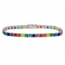 Wholesale Sterling Silver 925 Rhodium Plated Square Rainbow CZ Tennis Bracelet - BGB00322