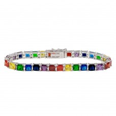Wholesale Sterling Silver 925 Rhodium Plated Large Square Rainbow CZ Tennis Bracelet - BGB00323