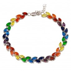 Wholesale Sterling Silver 925 Rhodium Plated Rainbow CZ Chain Bracelet - BGB00324