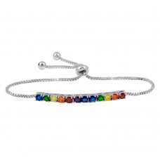 Wholesale Sterling Silver 925 Rhodium Plated Rainbow CZ Lariat Bracelet - BGB00325