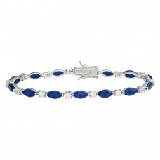 Wholesale Sterling Silver 925 Rhodium Plated Alternating Blue Oval CZ and Clear Round CZ Tennis Bracelet - BGB00326BLU