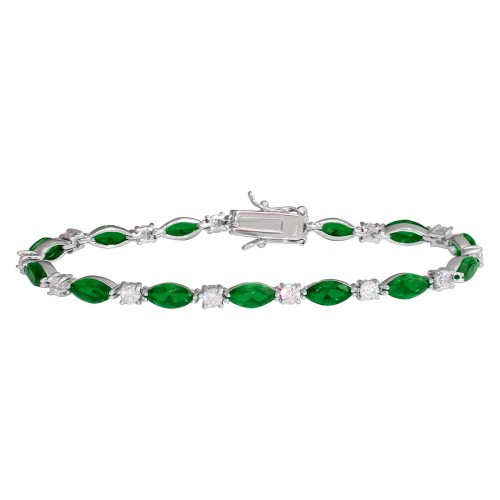 Wholesale Sterling Silver 925 Rhodium Plated Alternating Green Oval CZ and Clear Round CZ Tennis Bracelet - BGB00326GRN
