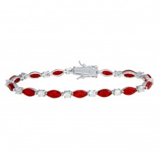 Wholesale Sterling Silver 925 Rhodium Plated Alternating Red Oval CZ and Clear Round CZ Tennis Bracelet - BGB00326RED