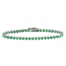Wholesale Sterling Silver 925 Rhodium Plated Round CZ Green Tennis Bracelet - BGB00327GRN