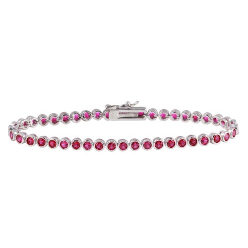 Wholesale Sterling Silver 925 Rhodium Plated Round CZ Red Tennis Bracelet - BGB00327RED