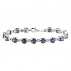 Wholesale Sterling Silver 925 Rhodium Plated Synthetic Mystic Topaz Link Tennis Bracelet - BGB00328