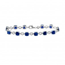 Wholesale Sterling Silver 925 Rhodium Plated Blue CZ Link Bracelet - BGB00331BLU