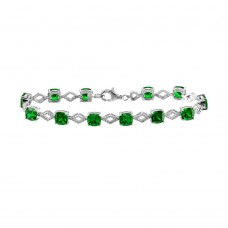 Wholesale Sterling Silver 925 Rhodium Plated Green CZ Link Bracelet - BGB00331GRN