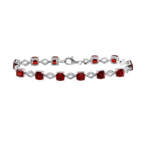 Wholesale Sterling Silver 925 Rhodium Plated Red CZ Link Bracelet - BGB00331RED