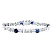 Wholesale Sterling Silver 925 Rhodium Plated 2 Row Clear and Blue CZ Tennis Bracelet - BGB00332BLU
