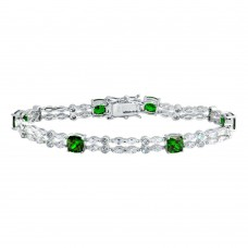 Wholesale Sterling Silver 925 Rhodium Plated 2 Row Clear and Green CZ Tennis Bracelet - BGB00332GRN