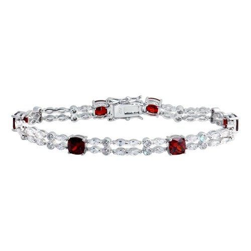 Wholesale Sterling Silver 925 Rhodium Plated 2 Row Clear and Red CZ Tennis Bracelet - BGB00332RED