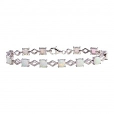Wholesale Sterling Silver 925 Rhodium Plated Opal Tennis Bracelet - BGB00333