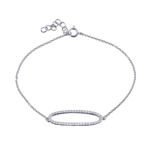 Wholesale Sterling Silver 925 Rhodium Plated Open Oval Chain Bracelet - BGB00339