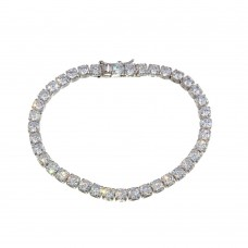 Wholesale Sterling Silver 925 Rhodium Plated Round CZ Tennis 4mm Bracelet - BGB00340