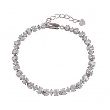 Wholesale Sterling Silver 925 Rhodium Plated Link CZ Tennis Bracelet - BGB00341