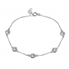 Wholesale Sterling Silver 925 Rhodium Plated Rope Disc CZ Chain Bracelet - BGB00342