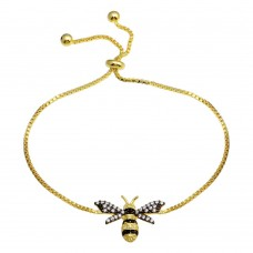 Wholesale Sterling Silver 925 Gold Plated BumbleBee Lariat Bracelet - BGB00344GP