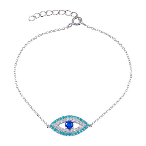 Wholesale Sterling Silver 925 Rhodium Plated CZ and Turquoise Evil Eye Bracelet - BGB00356