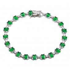 Wholesale Sterling Silver 925 Rhodium Plated Link Green CZ Tennis Bracelet - BGB00319GRN
