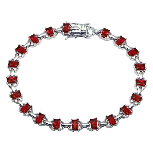 Wholesale Sterling Silver 925 Rhodium Plated Link Green CZ Tennis Bracelet - BGB00319RED