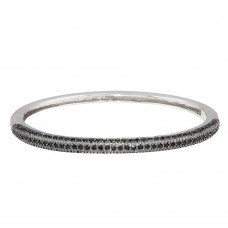Wholesale Sterling Silver 925 Black Rhodium Plated CZ Bangle Bracelet - BGG00018BLACK