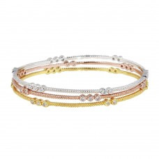 Wholesale Sterling Silver 925 Rhodium Plated Five Toned Three CZ Bangle Bracelet - BGG00022