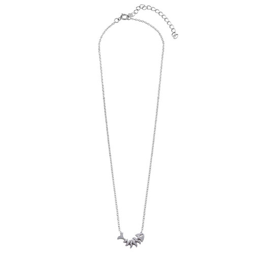 Wholesale Sterling Silver 925 Rhodium Plated Fish Skeleton Pendant Necklace - BGP01274
