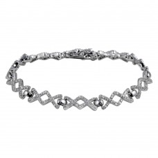 Wholesale Sterling Silver 925 Rhodium Plated Zig-Zag Tennis Bracelet - BGB00315