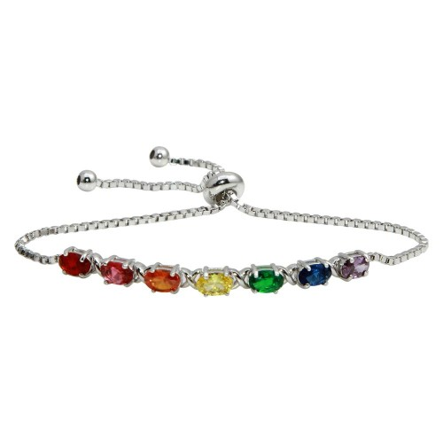 Wholesale Sterling Silver 925 Rhodium Plated Multi Color Rainbow CZ Lariat Bracelet - STB00555RB