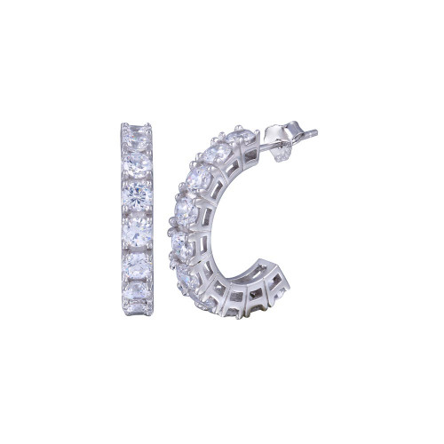 Wholesale Sterling Silver 925 Rhodium Plated Round Clear CZ Huggie Earrings - BGE00029