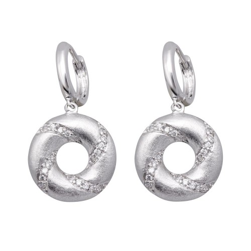 Wholesale Sterling Silver 925 Rhodium Plated Open Circle Stripped CZ Dangling Huggie Earrings - BGE00136